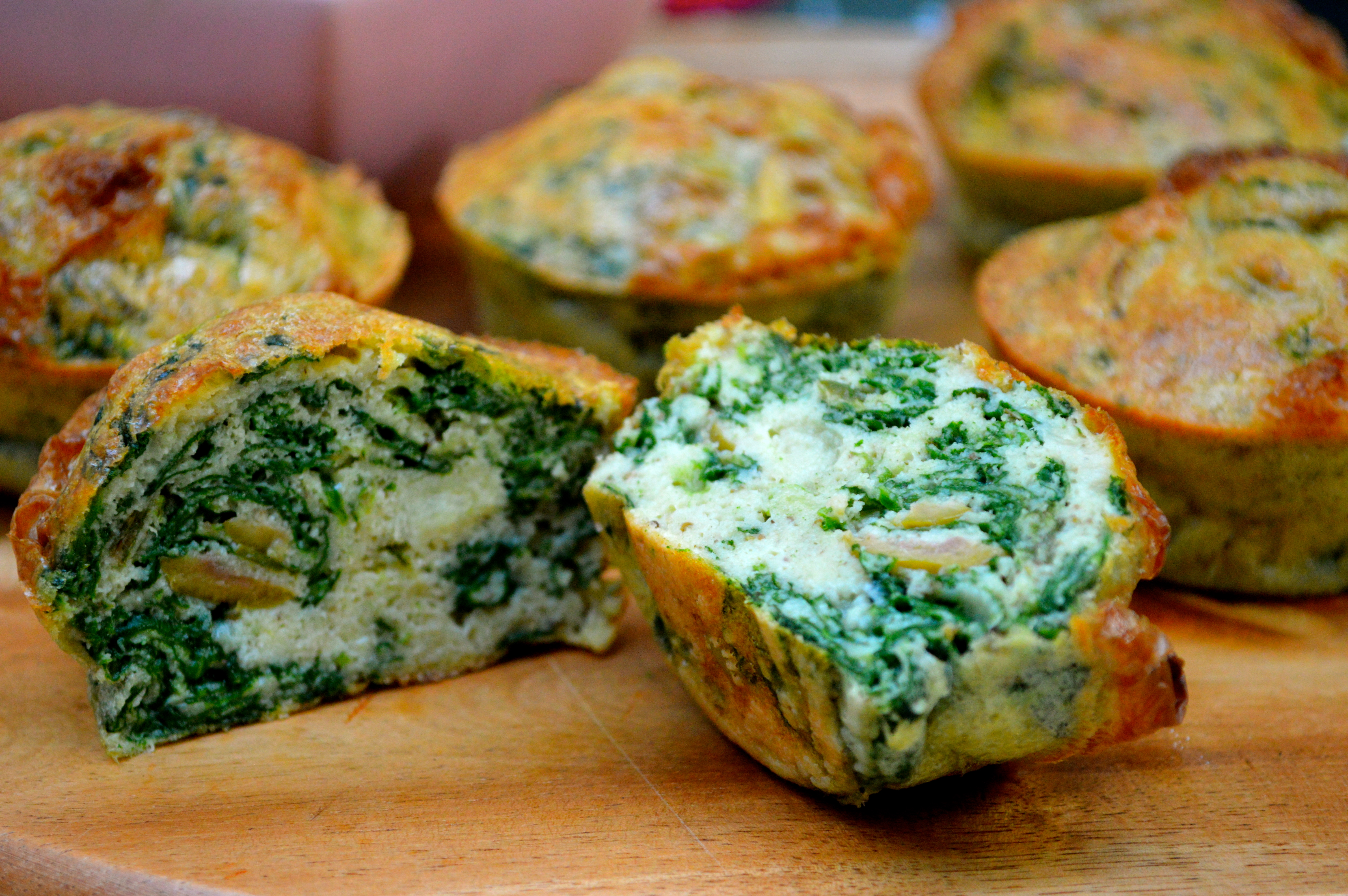 "... , spinach and spring onion ""no bread"" muffins 